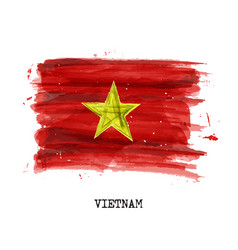 watercolor painting flag of vietnam vector image