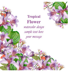 watercolor tropic floral beauty card vector image