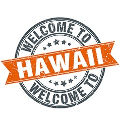 Welcome to Hawaii orange round ribbon stamp vector