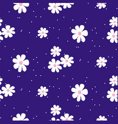 white daisy on blue background seamless pattern vector image