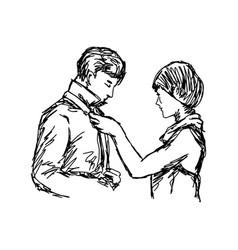 wife tying necktie of her husband vector image