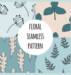 wild flowers seamless pattern set vector image
