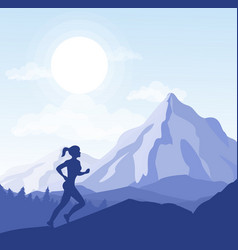 young woman running in the vector image