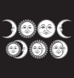 boho chic flash tattoo set sun and moon vector image vector image