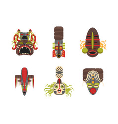 cartoon traditional religious totem color icons vector image