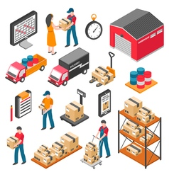 Logistics And Delivery Isometric Icons Set vector image vector image