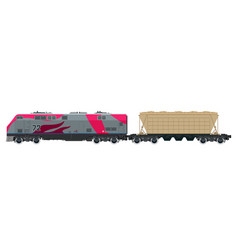 pink locomotive with hopper car vector image vector image