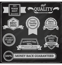 Quality labels chalkboard vector image vector image