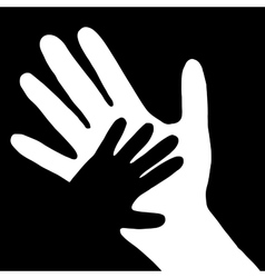 baby hand in adult hand vector image vector image