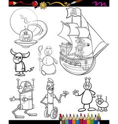 fantasy cartoon set for coloring book vector image