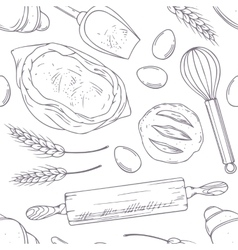 Seamless pattern with hand drawn bakery oblects in vector image vector image