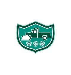 Snow Plow Truck Snowflakes Shield Retro vector image