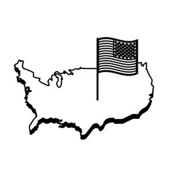 country outline flag united states usa icon image vector image vector image