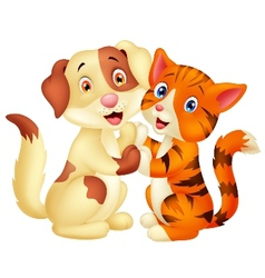 Cute cat and dog cartoon vector image vector image