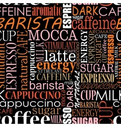 Seamless background with coffee tags vector image