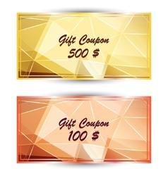 Set gold gift coupon gift card vector