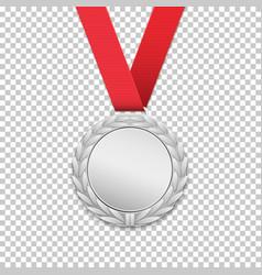 silver medal realistic icon vector image