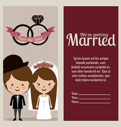 Wedding design over beige background vector image