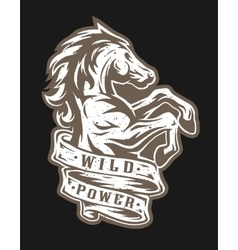 Wild horse and ribbon for text vector image
