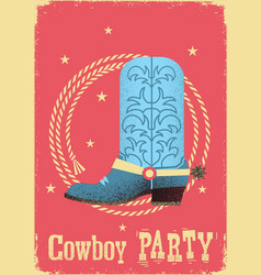 cowboy party card background with western boot vector image vector image