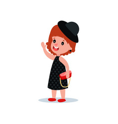 cute fashion girl in black polka-dot dress hat vector image