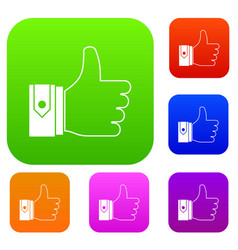thumbs up set collection vector image