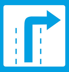 Turn right traffic sign icon white vector