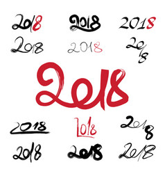 2018 handwritten sign set on white background vector image