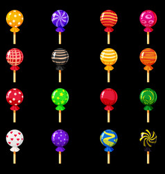 a set of colored candies lollipop caramel vector image