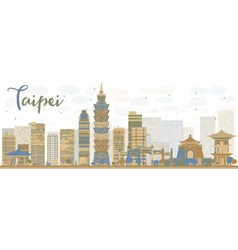 Abstract Taipei skyline with color landmarks vector