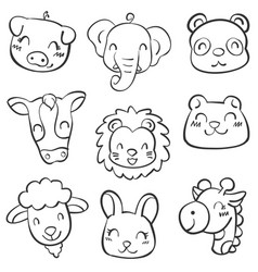 Animal head doodles vector