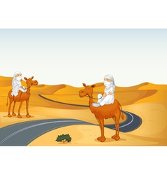 arabians riding on a camel vector image