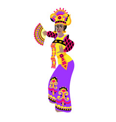 bali dancer in flat style woman performing sekar vector image