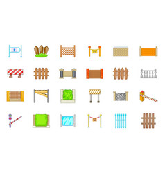 barrier icon set cartoon style vector image
