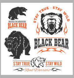 Black bear for logo sport team emblem design vector