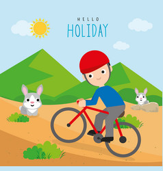 boy ride bicycle travel vacation holiday vector image