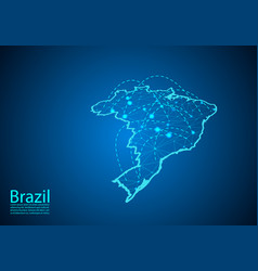 Brazil map with nodes linked by lines concept of vector