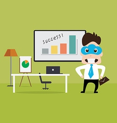 Business man standing nearby working table vector