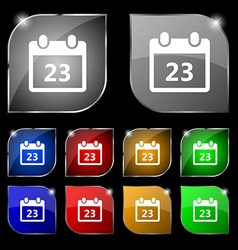 calendar page icon sign Set of ten colorful vector image