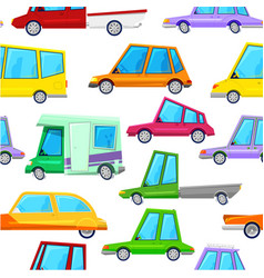 cartoon cars children seamless pattern vector image