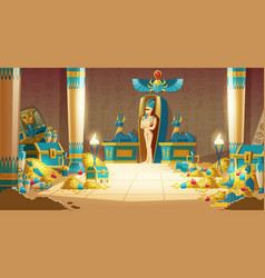 cartoon egyptian tomb - pharaoh sarcophagus vector image