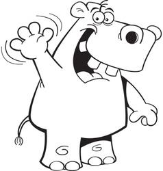 Cartoon Hippo Waving vector