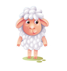 Cartoon sheep cute lamb isolated on white vector