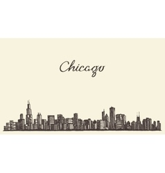 Chicago skyline city engraving vector