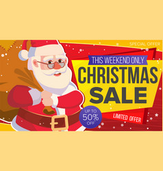 Christmas sale banner xmas santa claus vector