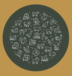 circular set farm animals that are great vector image
