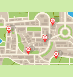 City map navigation plan with red pins gps vector