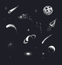 cosmic objects and space planets vector image vector image