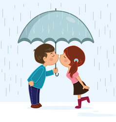 Couple kissing in the rain vector image