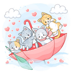 cute pastel kittens sailing inside an umbrella vector image